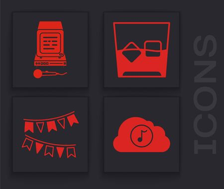 Set Music streaming service , Karaoke , Glass of whiskey and ice cubes and Carnival garland with flags icon. Vector 向量圖像