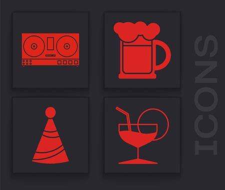 Set Martini glass , DJ remote for playing and mixing music , Wooden beer mug and Party hat icon. Vector Illusztráció