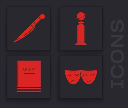 Set Comedy and tragedy theatrical masks , Knife , Trophy Golden Globe and Scenario icon. Vector Иллюстрация