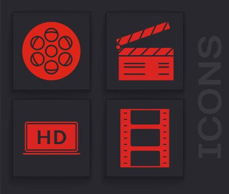 Set Play Video , Film reel , Movie clapper and Laptop screen with HD video technology icon. Vector Ilustração