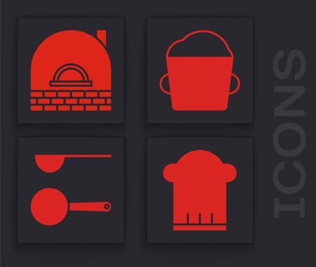 Set Chef hat , Brick stove , Bakery bowl dough and Measuring spoon icon. Vector Illustration