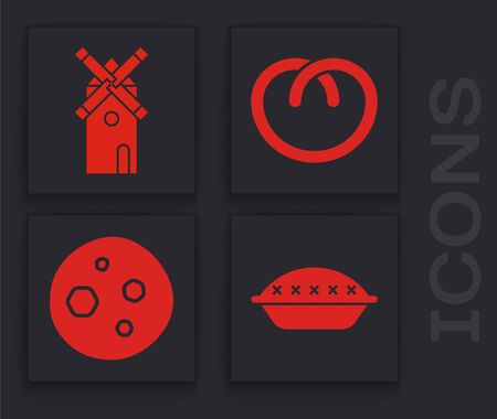Set Homemade pie , Windmill , Pretzel and Cookie or biscuit with chocolate icon. Vector Illustration