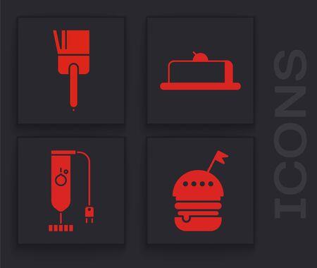 Set Burger , Kitchen brush , Strawberry cheesecake slice and Blender icon. Vector