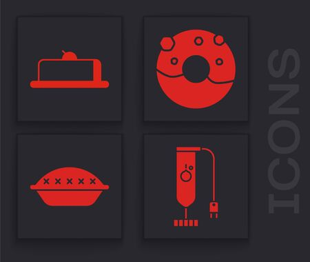 Set Blender , Strawberry cheesecake slice, Donut with sweet glaze and Homemade pie icon. Vector