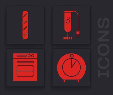 Set Kitchen timer , French baguette bread , Blender and Oven icon. Vector Illusztráció