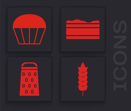 Set Cereals with rice, wheat, corn, oats, rye, Muffin , Brownie chocolate cake  and Grater  icon. Vector