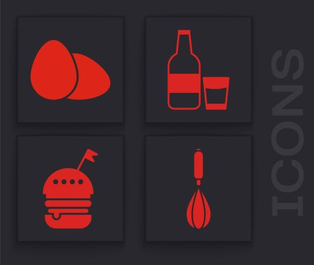 Set Kitchen whisk , Chicken egg , Glass bottle with milk and glass  and Burger  icon. Vector Illusztráció