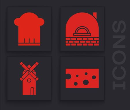 Set Cheese , Chef hat , Brick stove and Windmill icon. Vector