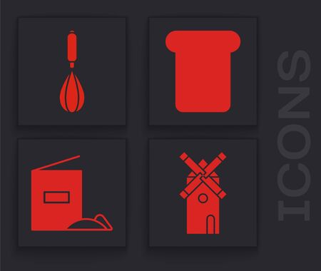 Set Windmill , Kitchen whisk , Bread toast and Flour pack  icon. Vector Illusztráció