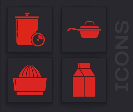 Set Paper package for milk , Cooking pot and kitchen timer , Frying pan and Citrus fruit juicer icon. Vector