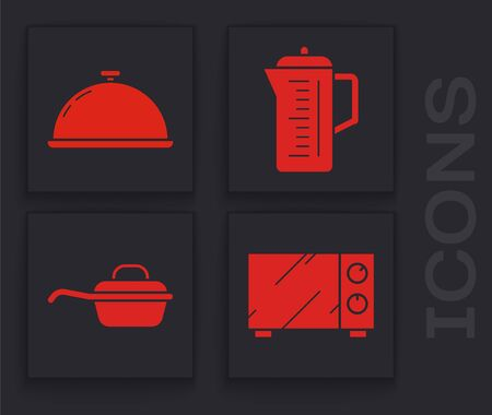 Set Microwave oven , Covered with a tray of food , Teapot  and Frying pan  icon. Vector Illustration
