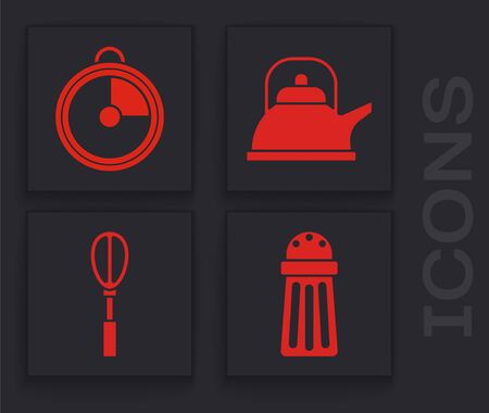 Set Salt , Kitchen timer , Kettle with handle  and Kitchen whisk  icon. Vector Illusztráció