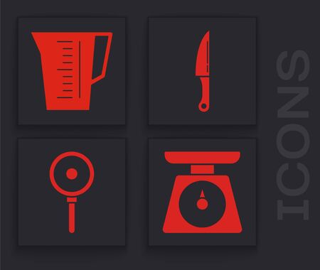 Set Scales , Measuring cup, Knife  and Frying pan  icon. Vector
