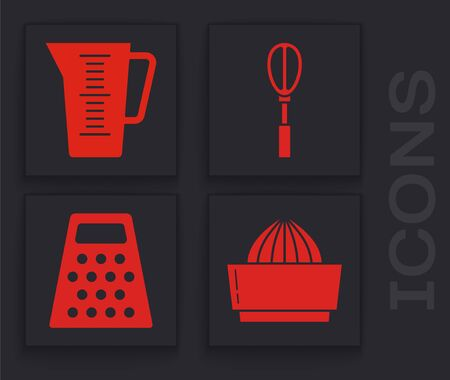 Set Citrus fruit juicer , Measuring cup, Kitchen whisk  and Grater  icon. Vector
