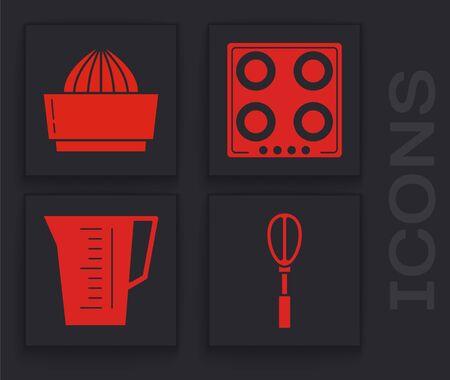 Set Kitchen whisk , Citrus fruit juicer , Gas stove  and Measuring cup icon. Vector Illusztráció
