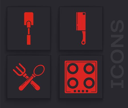 Set Gas stove , Spatula , Meat chopper and Crossed fork and spoon icon. Vector