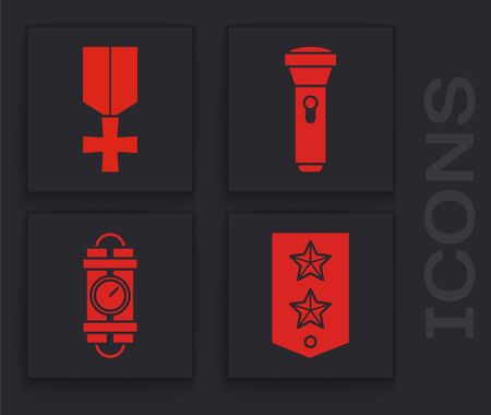 Set Chevron , Military reward medal , Flashlight  and Detonate dynamite bomb stick and timer clock icon. Vector