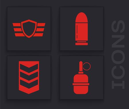 Set Hand grenade , Military reward medal , Bullet  and Military rank  icon. Vector