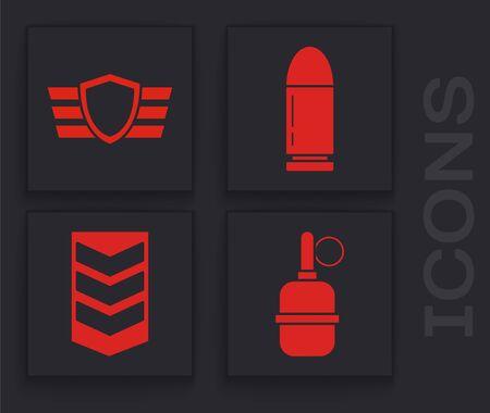 Set Hand grenade , Military reward medal , Bullet  and Military rank  icon. Vector