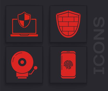 Set Smartphone with fingerprint scanner , Laptop protected with shield, Shield with cyber security brick wall  and Ringing alarm bell  icon. Vector