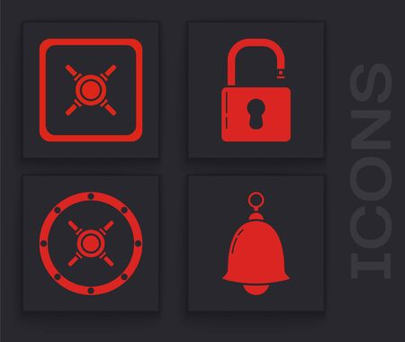 Set Ringing bell , Safe , Open padlock and Safe icon. Vector