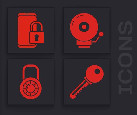 Set Key , Smartphone with closed padlock , Ringing alarm bell and Safe combination lock wheel icon. Vector  イラスト・ベクター素材