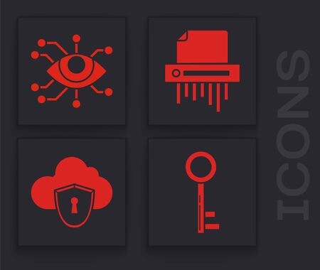 Set Key , Eye scan , Paper shredder confidential and Cloud and shield icon. Vector 일러스트