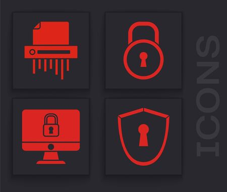 Set Shield with keyhole , Paper shredder confidential, Lock and Lock on computer monitor screen icon. Vector 스톡 콘텐츠 - 139978615