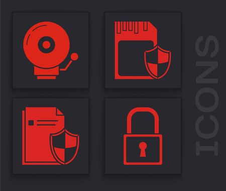 Set Lock , Ringing alarm bell , SD card and shield and Document protection concept icon. Vector
