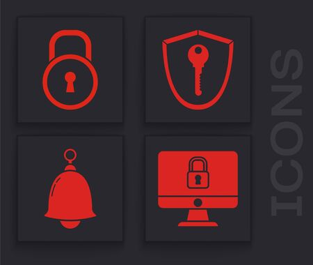 Set Lock on computer monitor screen, Lock , Shield with key and Ringing bell icon. Vector  イラスト・ベクター素材