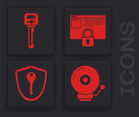 Set Ringing alarm bell , Key , Secure your site with HTTPS, SSL and Shield with key icon. Vector