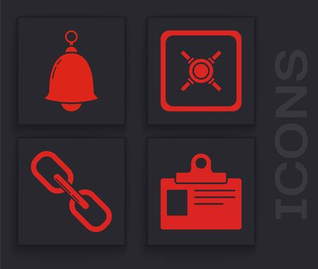Set Identification badge, Ringing bell , Safe and Chain link icon. Vector