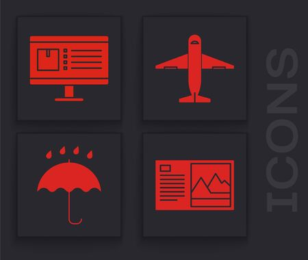 Set Postcard , Computer monitor with app delivery tracking , Plane and Umbrella and rain drops icon. Vector  イラスト・ベクター素材