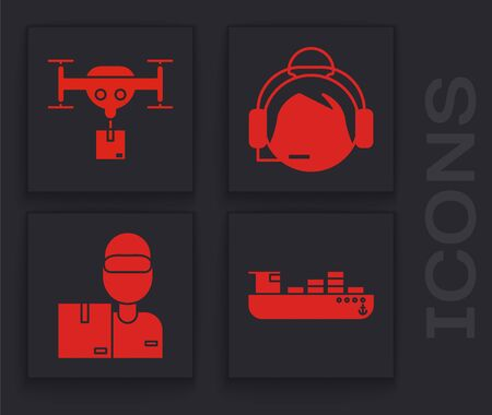 Set Cargo ship with boxes delivery service , Delivery drone with the package , Support operator in touch and Delivery man with cardboard boxes icon. Vector