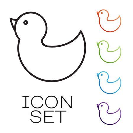 Icono de pato de goma de línea negra aislado sobre fondo blanco. Establecer iconos de colores. Ilustración vectorial Ilustración de vector