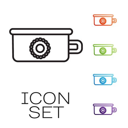 Black line Baby potty icon isolated on white background. Chamber pot. Set icons colorful. Vector Illustration