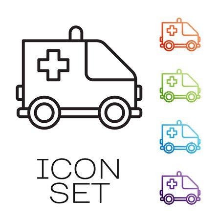 Black line Ambulance and emergency car icon isolated on white background. Ambulance vehicle medical evacuation. Set icons colorful. Vector Illustration