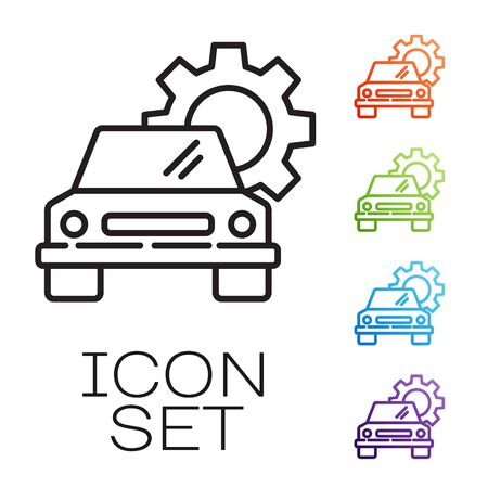 Black line Car service icon isolated on white background. Auto mechanic service. Repair service auto mechanic. Maintenance sign. Set icons colorful. Vector Illustration
