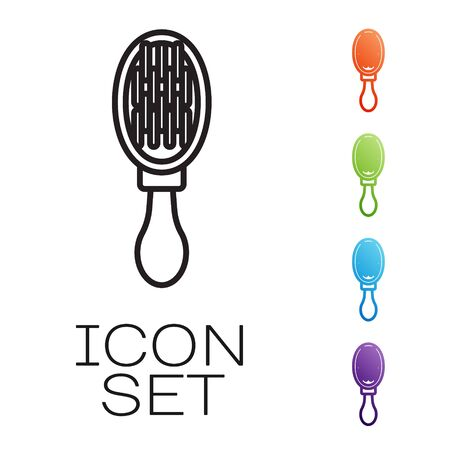 Black line Hair brush for dog and cat icon isolated on white background. Brush for animal fur. Pet accessory. Set icons colorful. Vector Illustration Illusztráció