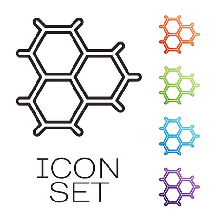 Black line Chemical formula consisting of benzene rings icon isolated on white background. Set icons colorful. Vector Illustration