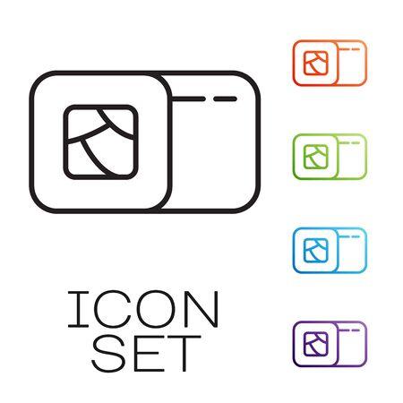 Black line Sushi icon isolated on white background. Traditional Japanese food. Set icons colorful. Vector Illustration 일러스트
