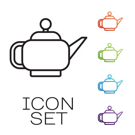 Black line Traditional Japanese tea ceremony icon isolated on white background. Teapot with cup. Set icons colorful. Vector Illustration Illustration