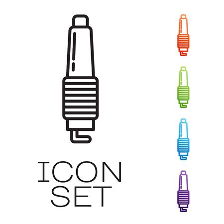 Black line Car spark plug icon isolated on white background. Car electric candle. Set icons colorful. Vector Illustration