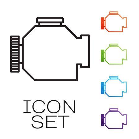 Línea negra Compruebe el icono del motor aislado sobre fondo blanco. Establecer iconos de colores. Ilustración vectorial