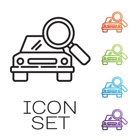 Black line Car search icon isolated on white background. Magnifying glass with car. Set icons colorful. Vector Illustration