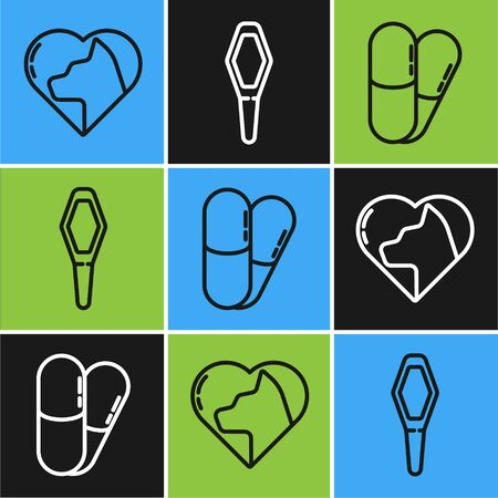 Set line Heart with cat, Dog and pills and Pets vial medical icon. Vector