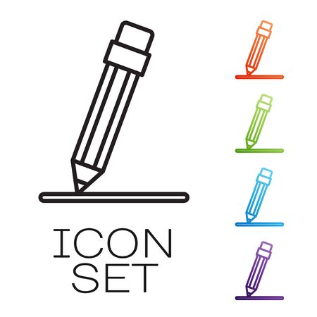 Black line Pencil with eraser and line icon isolated on white background. Education sign. Drawing and educational tools. Set icons colorful. Vector Illustration