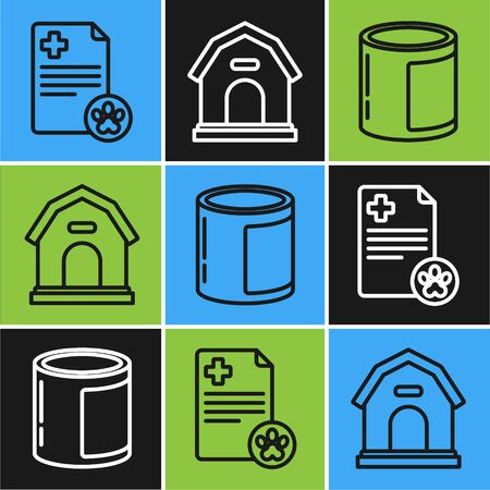 Set line Clipboard with medical clinical record pet, Canned food and Dog house icon. Vector