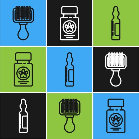 Set line Hair brush for dog and cat, Pets vial medical and Dog medicine bottle and pills icon. Vector