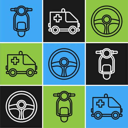 Set line Scooter, Steering wheel and Ambulance and emergency car icon. Vector